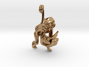 3D-Monkeys 033 in Polished Brass