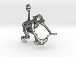 3D-Monkeys 051 in Fine Detail Polished Silver