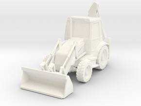 Backhoe Loader 01. HO Scale (1:87) in White Processed Versatile Plastic