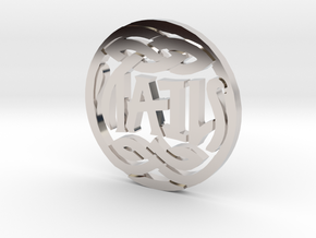 Heads and Tails Ambigram Coin in Rhodium Plated Brass