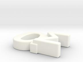 Aspie Symbol in White Processed Versatile Plastic