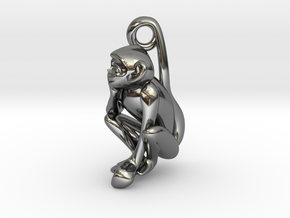 3D-Monkeys 158 in Fine Detail Polished Silver