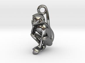 3D-Monkeys 158 in Fine Detail Polished Silver