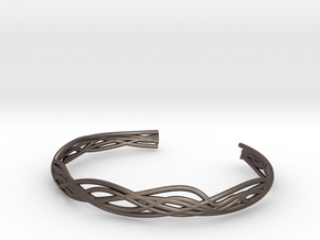 Branch Cuff in Polished Bronzed Silver Steel