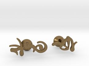 Custom Hebrew Name Cufflinks in Polished Bronze