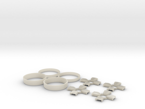 039003-01 Tamiya Willy's Wheeler Libra Wheel Caps in White Acrylic