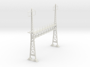 PRR CATENARY HO SCALE ANCHOR BRIDGE 2 PHASE in White Natural Versatile Plastic