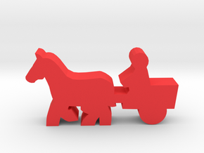Game Piece, Horse And Cart in Red Processed Versatile Plastic
