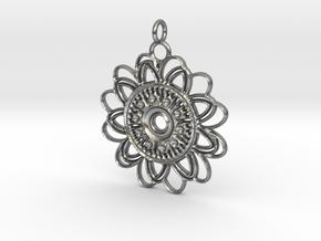 Petal Mandala Pendant in Natural Silver