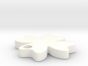 幸運草吊飾.stl in White Strong & Flexible Polished
