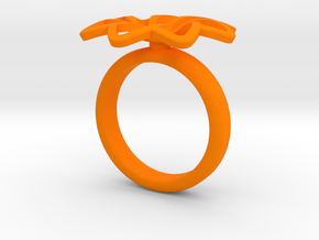 Anello Petali Singolo Ver 2 in Orange Strong & Flexible Polished