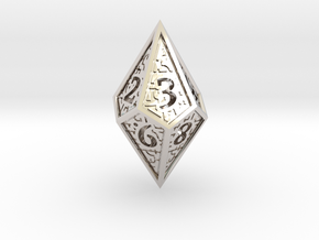 Hedron D10 (v2 closed) Spindown - Hollow in Rhodium Plated Brass