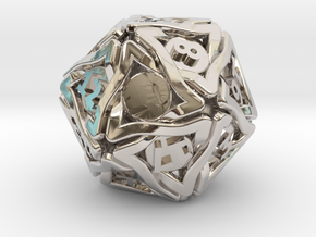 'Twined' Dice D20 Gaming Die (24 mm) in Rhodium Plated Brass
