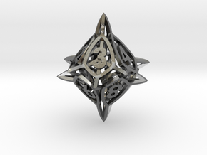 'Center Arc' dice, D10 Spindown Life Counter in Polished Silver