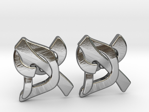 "Hebrew Monogram Cufflinks - ""Aleph Pay"" Large in Polished Silver"