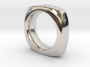 SIMPLE PILLOW  RING  SIZE 6 in Rhodium Plated Brass