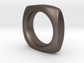 SIMPLE PILLOW  RING  SIZE 6 in Polished Bronzed Silver Steel