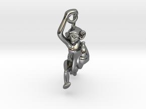 3D-Monkeys 237 in Fine Detail Polished Silver