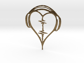 Musical Heart Pendant in Polished Bronze