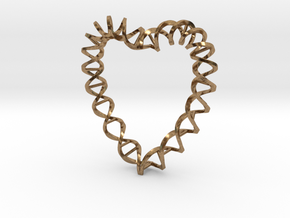 DNA Heart in Natural Brass
