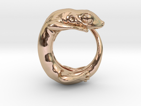 (Size 4) Gecko Ring in 14k Rose Gold Plated Brass
