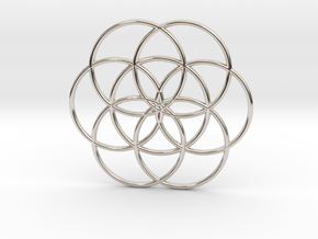 Flower of Life - Hollow in Rhodium Plated Brass