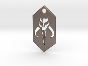 Mandalorian / Mythosaur Pendant Keychain (Star War in Polished Bronzed Silver Steel