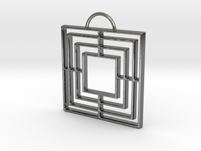 Triple Square Pendant in Fine Detail Polished Silver