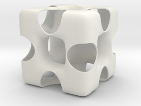 Wormhole Cube in White Natural Versatile Plastic