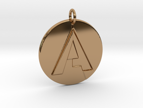 """""""A"""" Letter Initial Pendant in Polished Brass"""