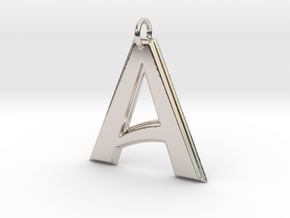 """A"" Letter Initial Pendant in Rhodium Plated"