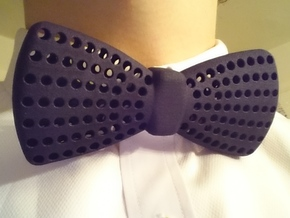 Bow Tie with Radial Holes in Black Natural Versatile Plastic