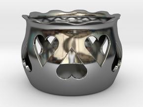 Tea Light Holder Heart in Fine Detail Polished Silver