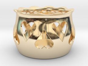 Tea Light Holder Heart in 14k Gold Plated Brass