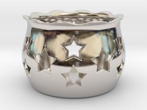 Tea Light Holder Star in Rhodium Plated Brass