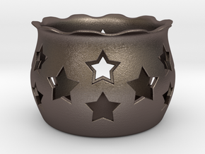 Tea Light Holder Star in Polished Bronzed Silver Steel
