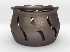 Tea Light Holder Wave in Polished Bronzed Silver Steel