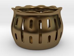 Tea Light Holder Line in Polished Bronze