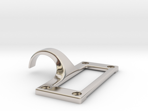 Library Card Catalog Drawer Pull With Label Slot in Rhodium Plated Brass