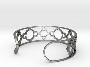 Mandelbrot Due Bracelet 7in (18cm) in Fine Detail Polished Silver