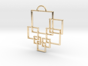 Squares Pendant in 14k Gold Plated Brass