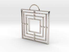 Triple Square Pendant in Platinum