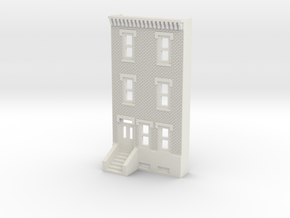 N SCALE ROW HOME FRONT 3S  in White Natural Versatile Plastic