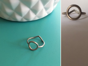 Two sides Ring Size M / 6 (Medium) in Polished Bronzed Silver Steel