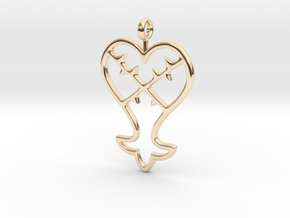 Kingdom Hearts Pendant in 14k Gold Plated Brass