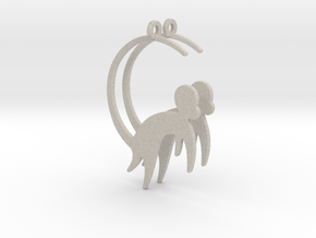 Cute Monkey Earrings in Natural Sandstone