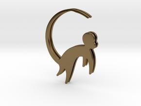 Lucky charm earrings Monkey  in Polished Bronze