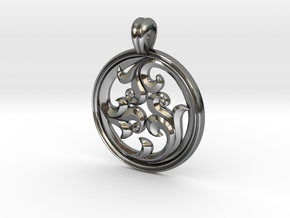 Rosette Pendant in Fine Detail Polished Silver