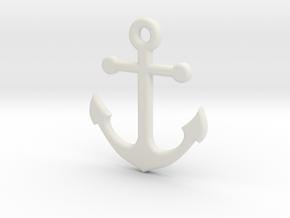 Anchor Necklace Pendant in White Natural Versatile Plastic