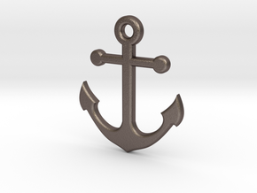 Anchor Necklace Pendant in Polished Bronzed Silver Steel